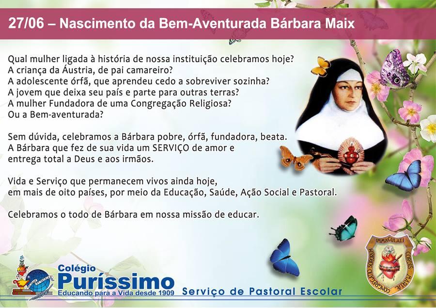 colegio purissimo homenagem nascimento de barbara maix 2015