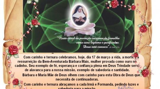 Aniversário de morte da Bem-Aventurada Bárbara Maix